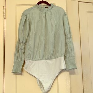 Green Cuffed Blouse Bodysuit XL